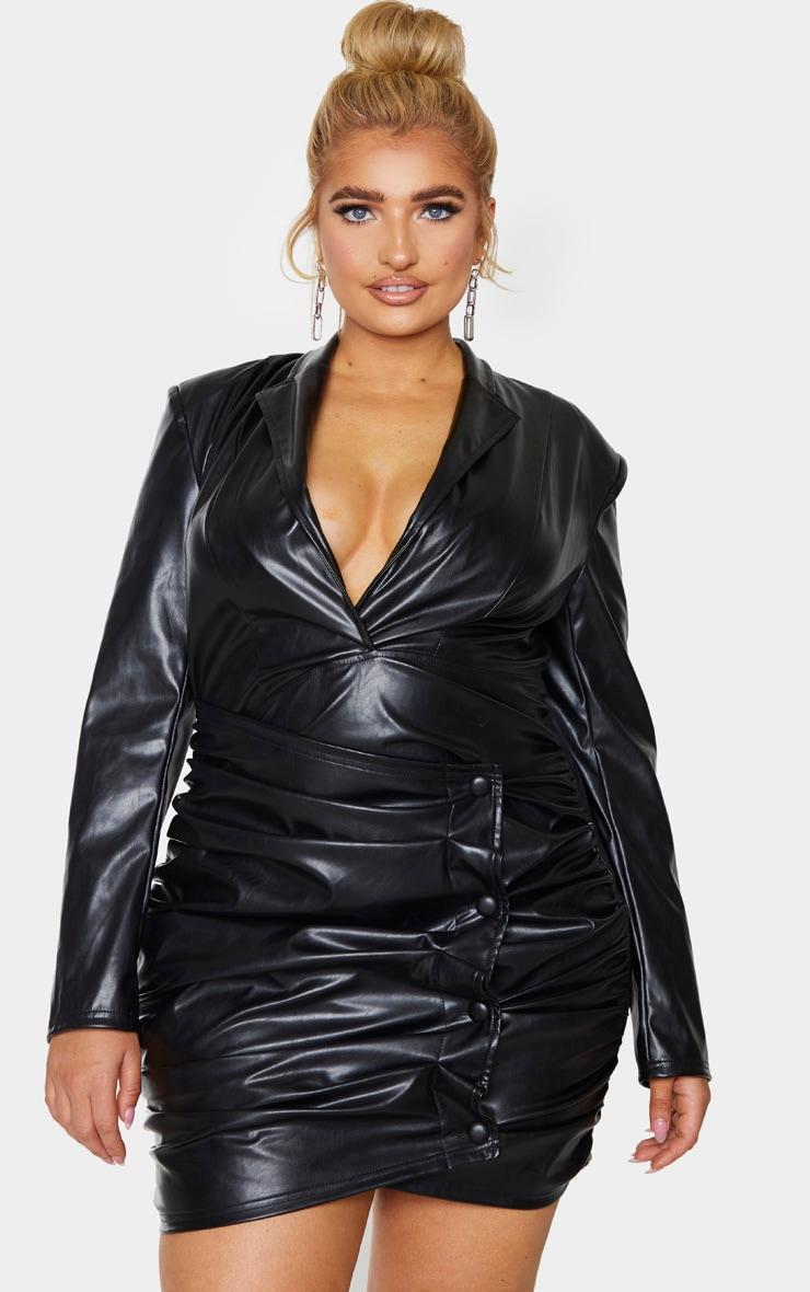 Plus Black PU Ruched Skirt Blazer Dress 1