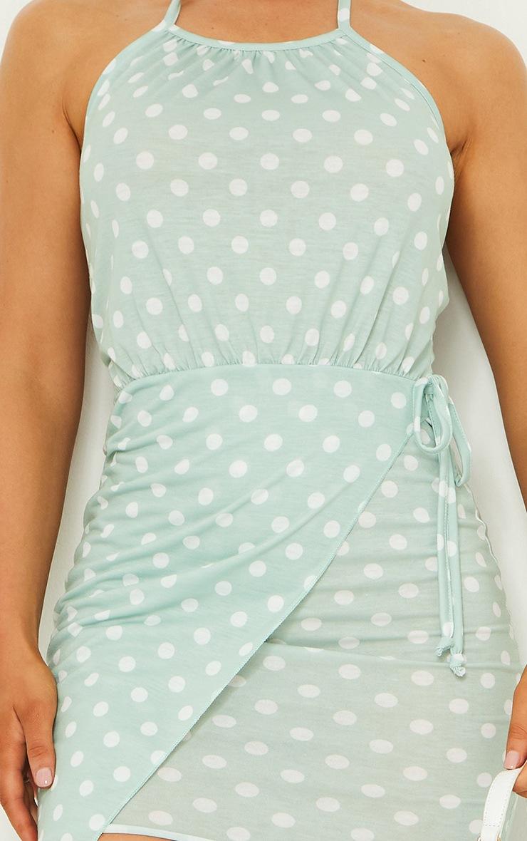 Sage Green Polka Dot Print Racer Neck Wrap Tea Dress 3