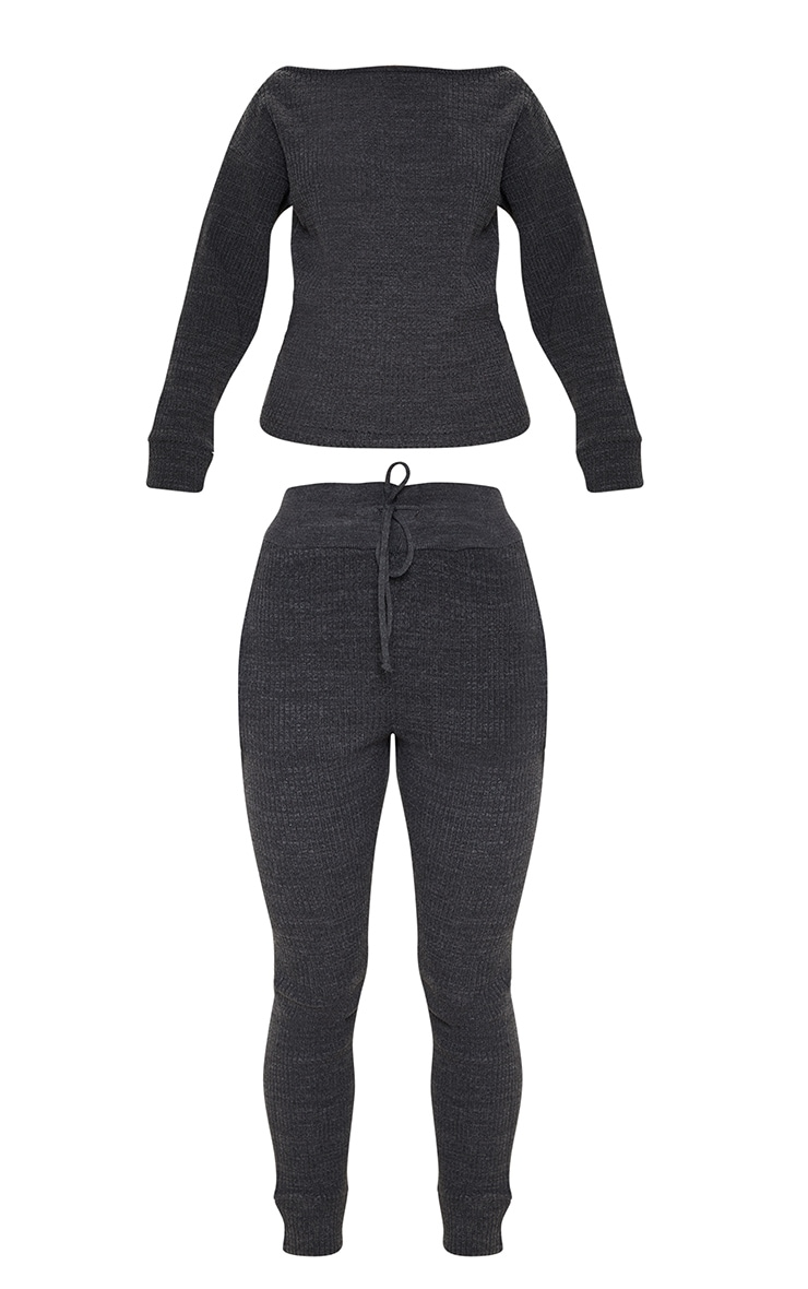 Charcoal Knitted Rib Jogger Co Ord 3