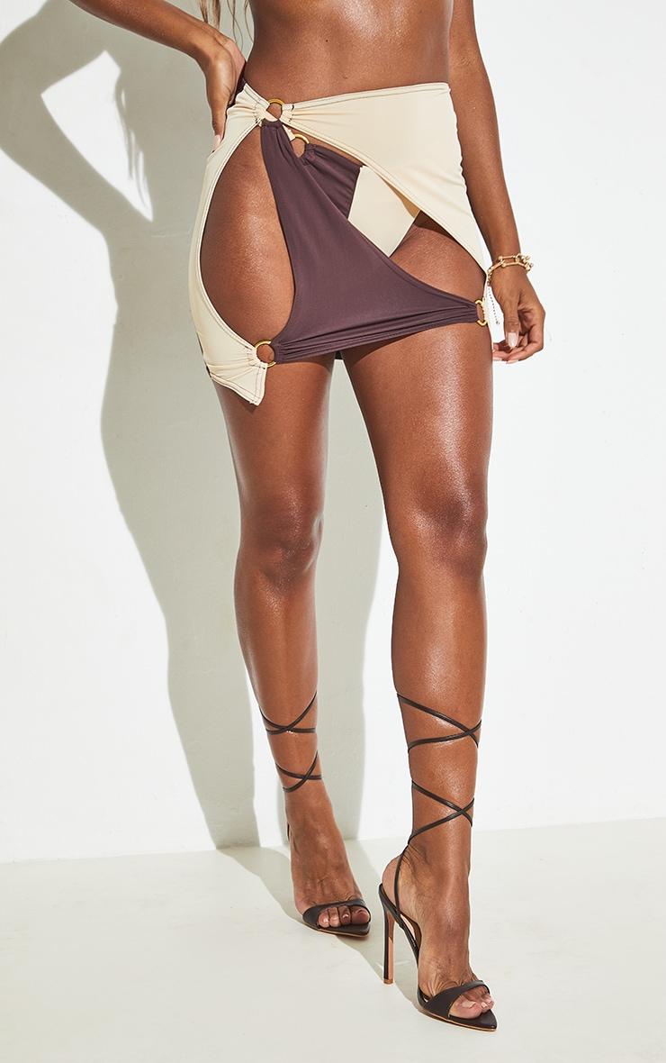 Chocolate Cut Out Ring Detail Mini Beach Skirt 5
