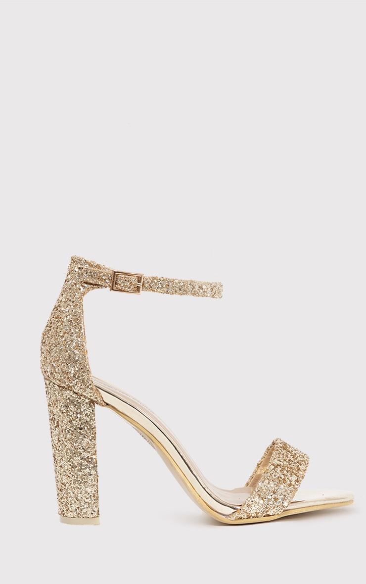 44ff31dcf2c May Gold Glitter Strap Heeled Sandals - High Heels ...