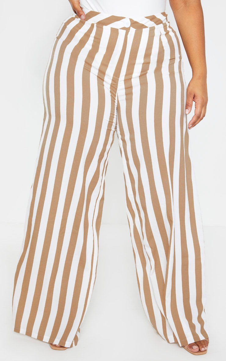 Plus Stone Striped Wide Leg Pants  4
