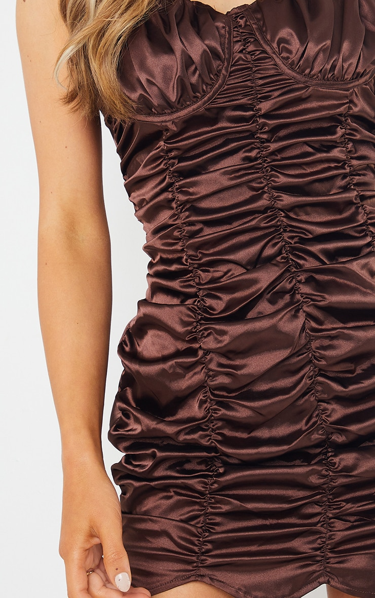 Chocolate Satin Ruched Cup Detail Elastic Strap Bodycon Dress 4