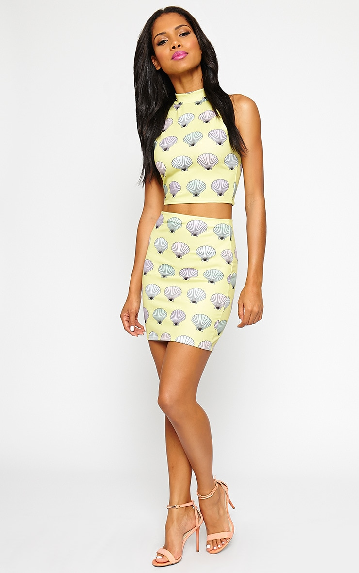Alexis Yellow Shell Print Crop Top 4