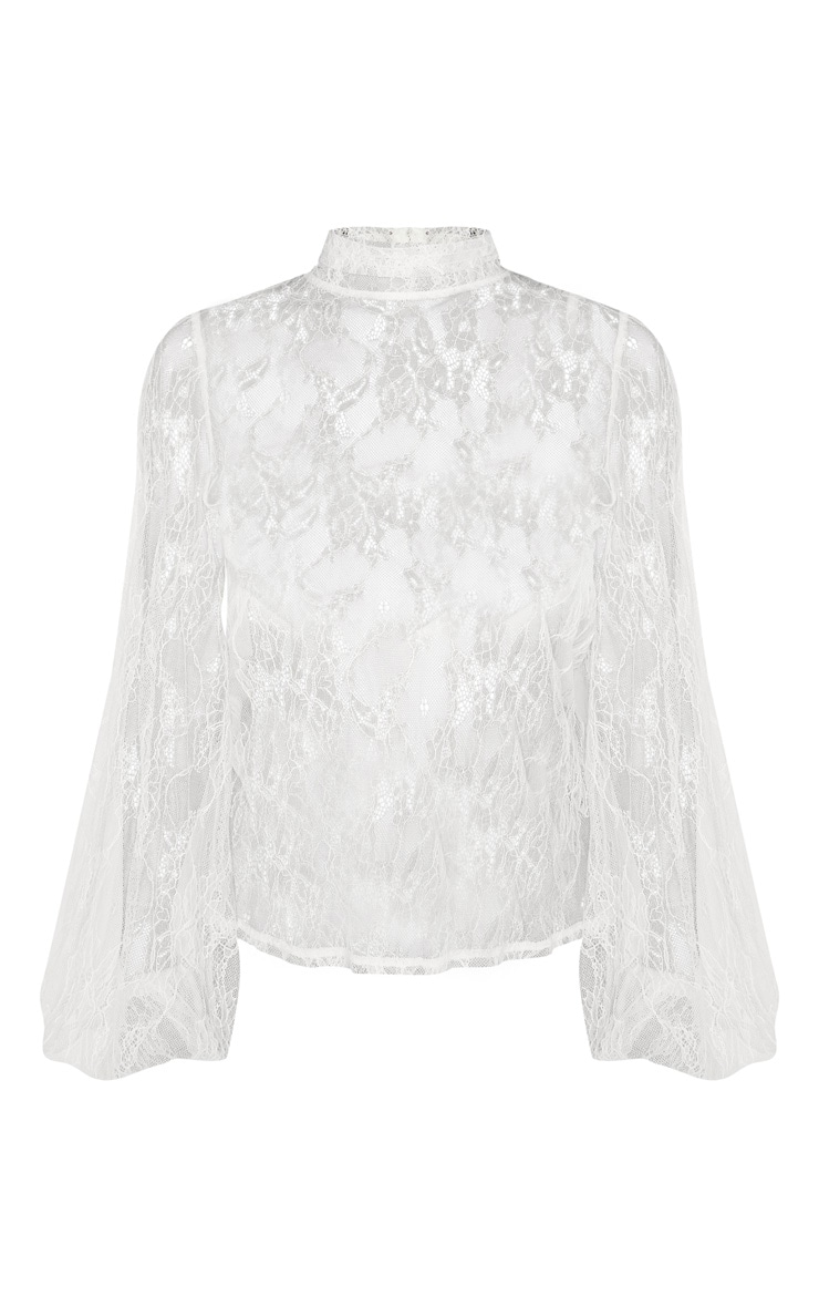 Petite White High Neck Full Lace Puff Sleeve Blouse 3