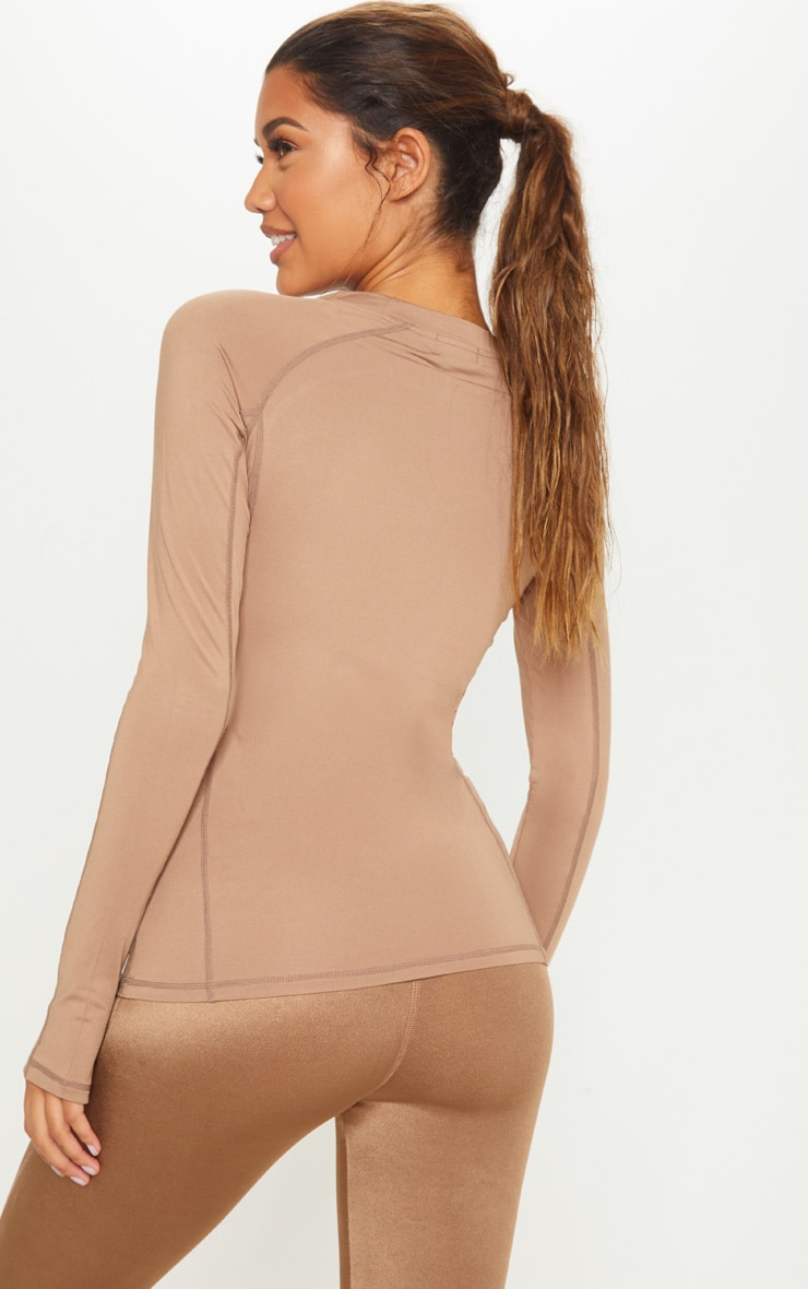 Mocha Long Sleeved Gym Top 2