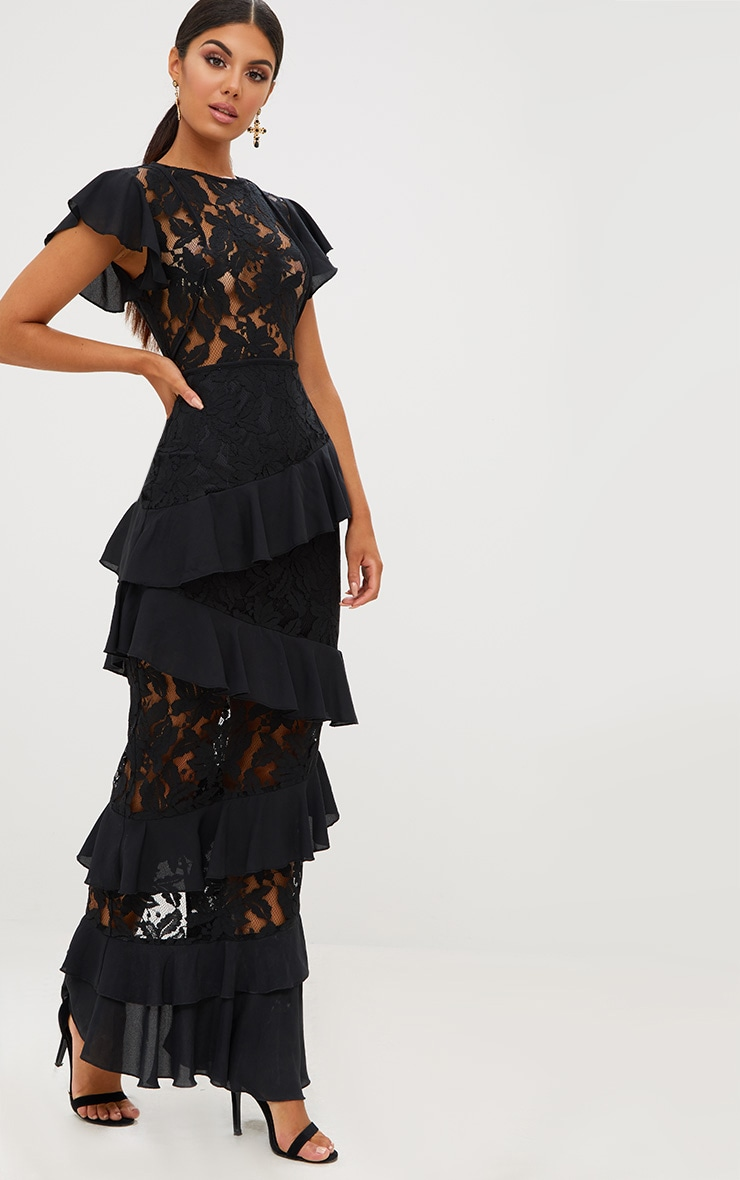 Black Lace Ruffle Detail Maxi Dress 1