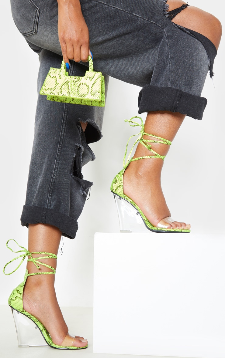Lime Snake Ankle Tie Clear Wedges 1