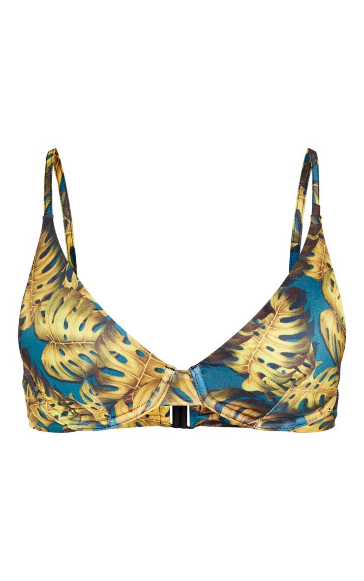 Teal Leaf Print Underwired Bikini Top 3