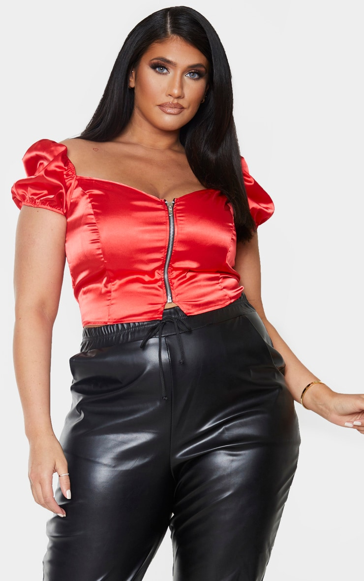 Plus Red Satin Puff Sleeve Crop Top 1
