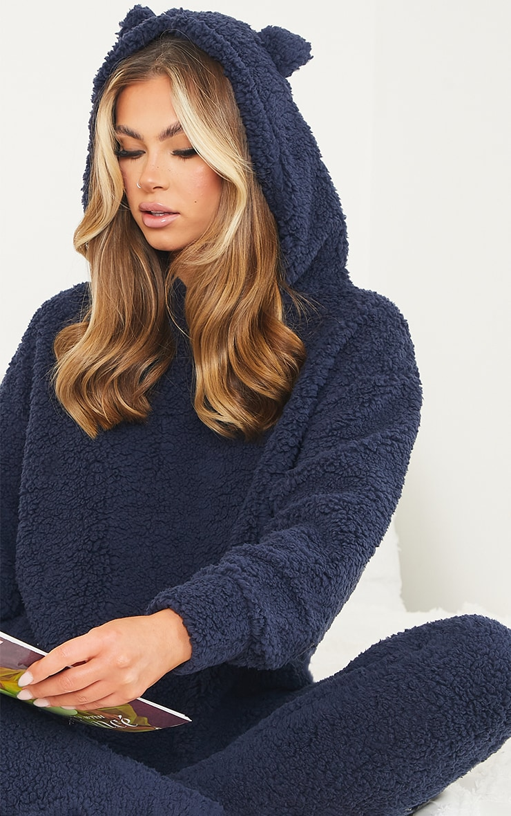 Navy Borg Teddy Ear Hoodie And Leggings PJ Set  4