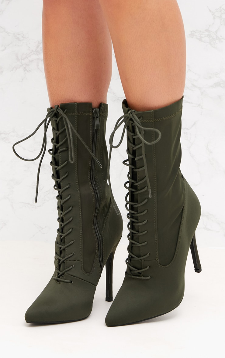 Khaki Lycra Lace Up Ankle Boot 2