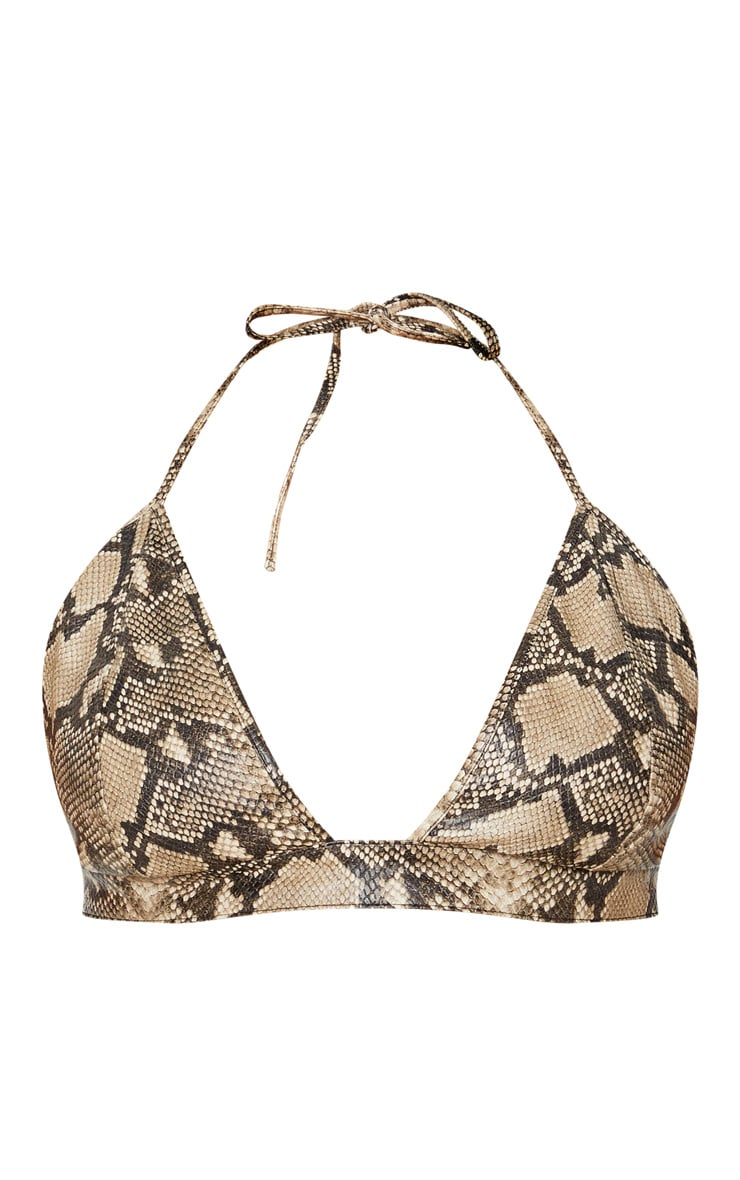 Plus Taupe Snake Print Triangle Halterneck Bralet 3