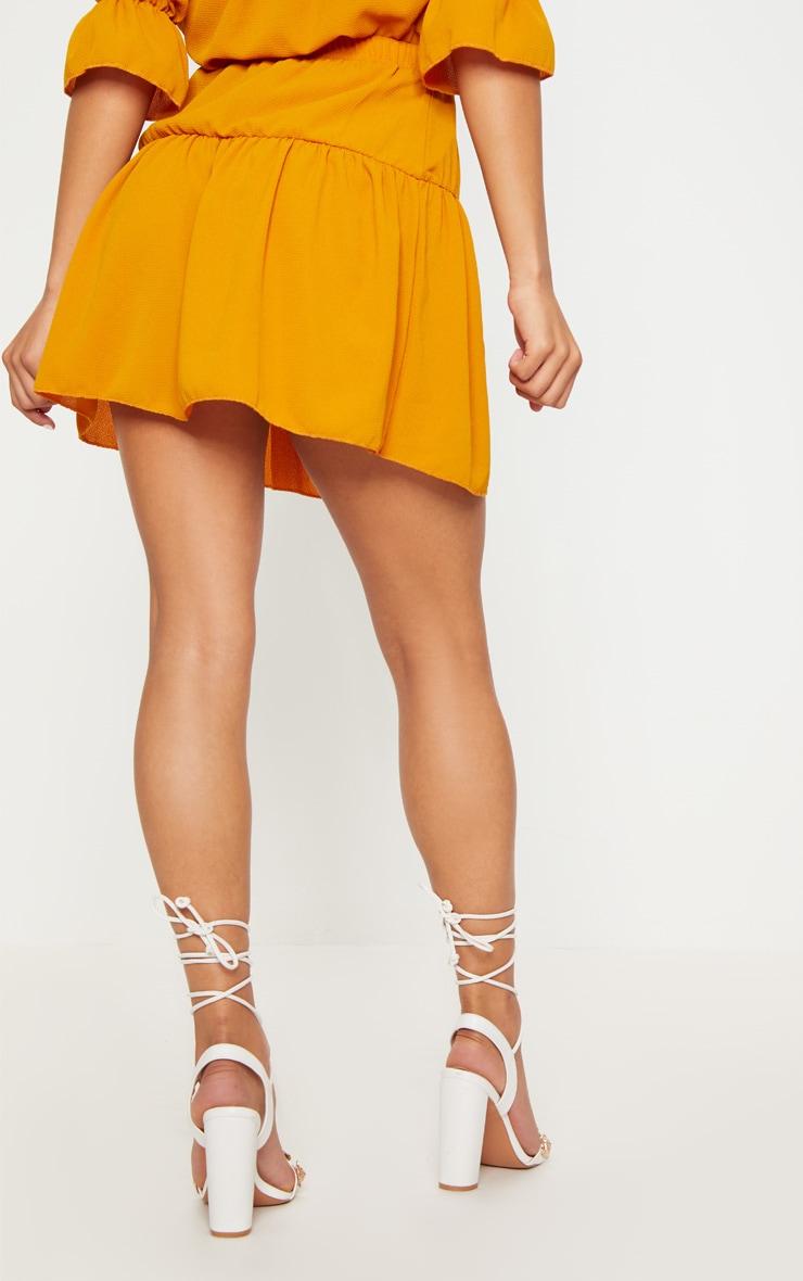 Mustard Chiffon Frill Hem Mini Skirt 4