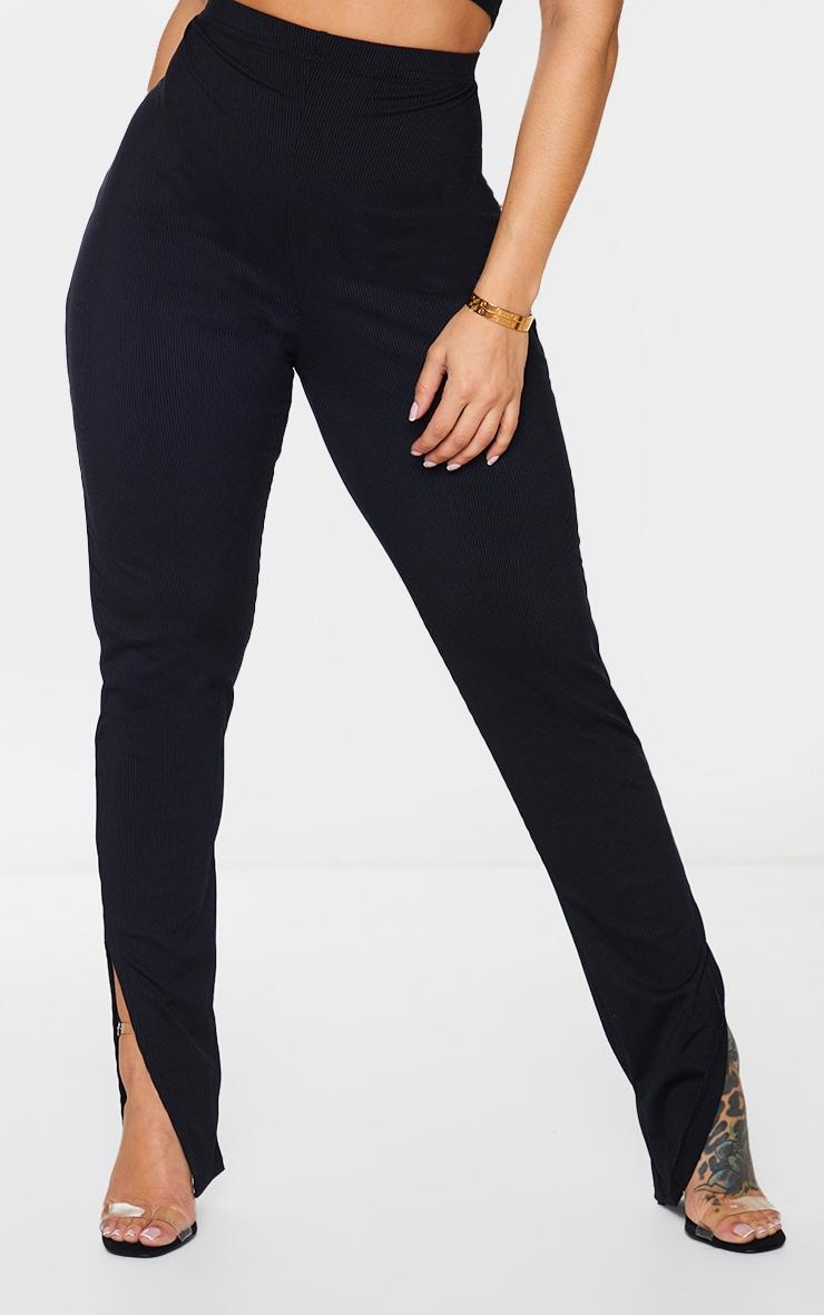 Shape Black Rib High Waist Split Hem Trousers 2