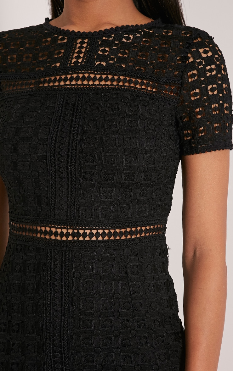 Midira Black Crochet Lace Midi Dress 6