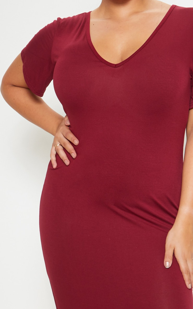 Plus Burgundy Jersey V Neck T- Shirt Midi Dress 5