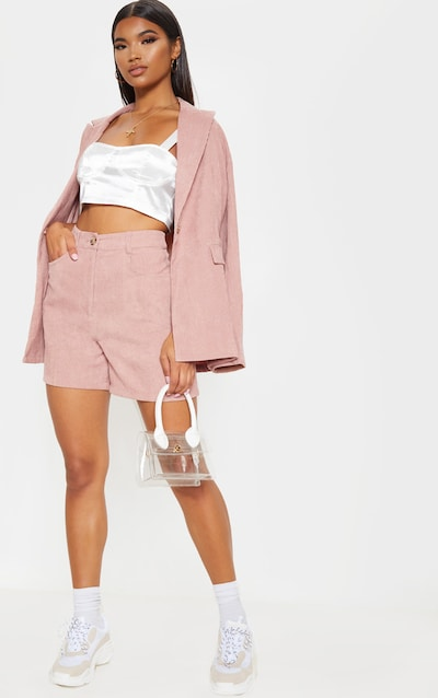 Dusty Rose Cord High Waisted Oversized Shorts