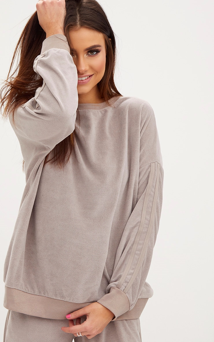 Taupe Velour Side Stripe Sweater 1