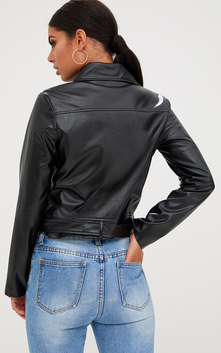 Polie Black PU Biker Jacket  3