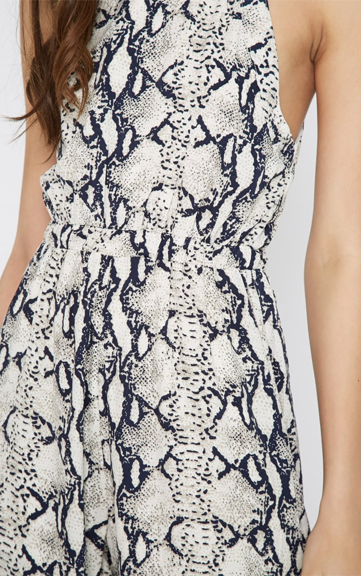 Rania Grey Snake Print Jumpsuit  3