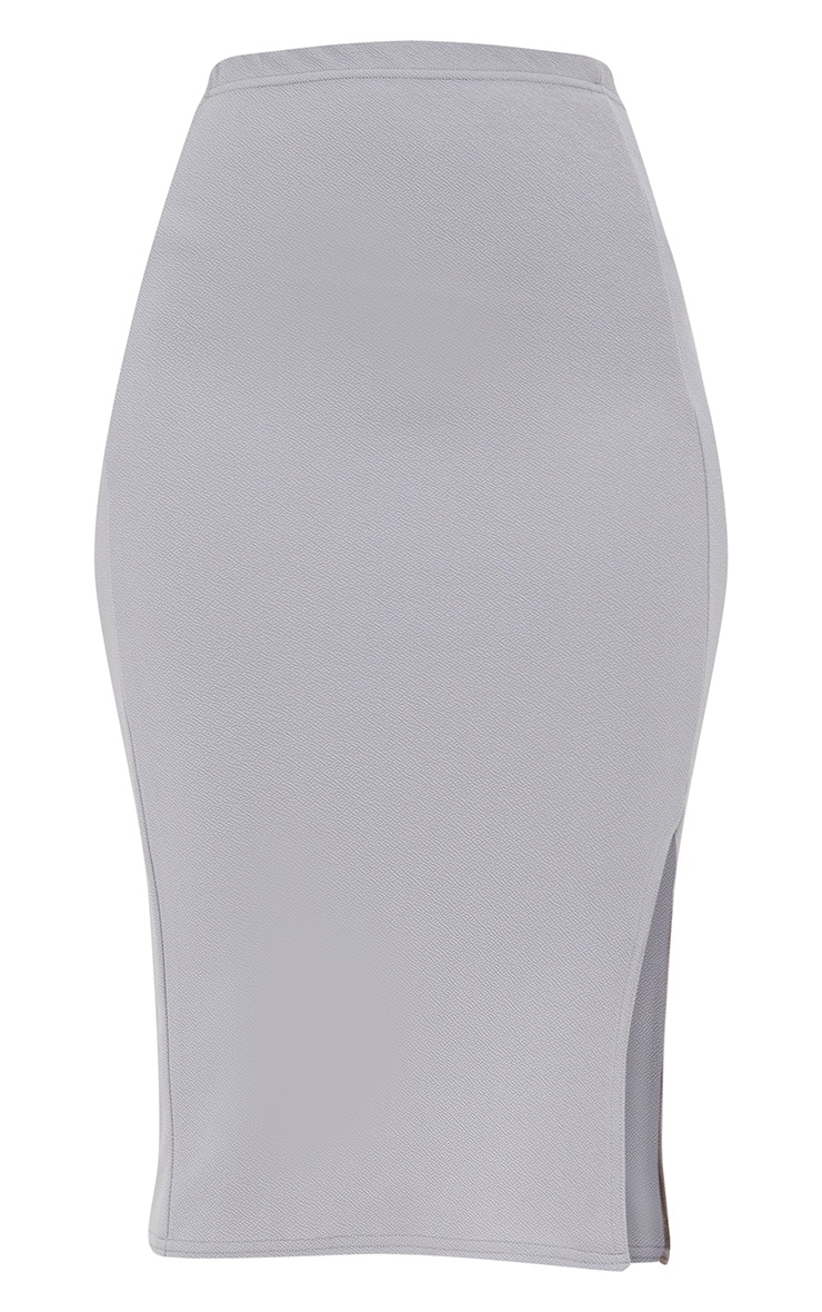 Grey Basic Split Midi Skirt 3