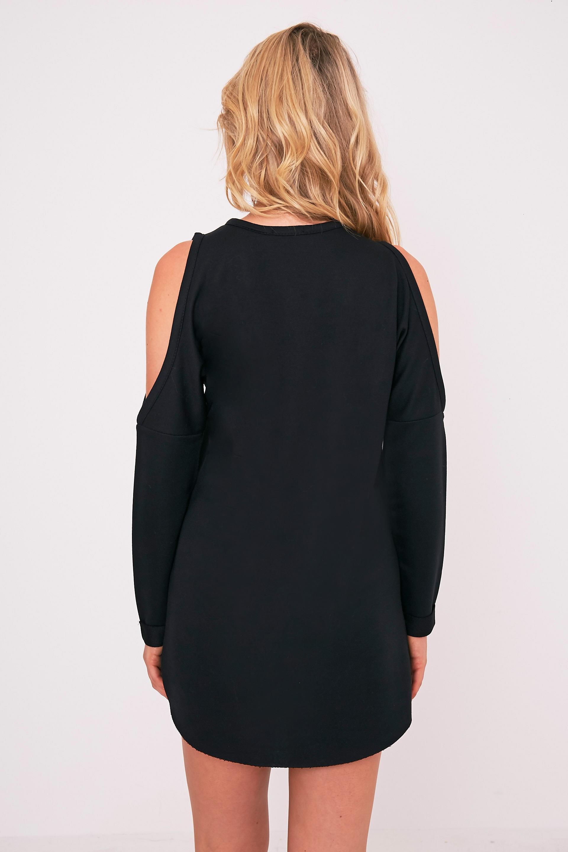 Milene Black Cold Shoulder Sweater Dress 2