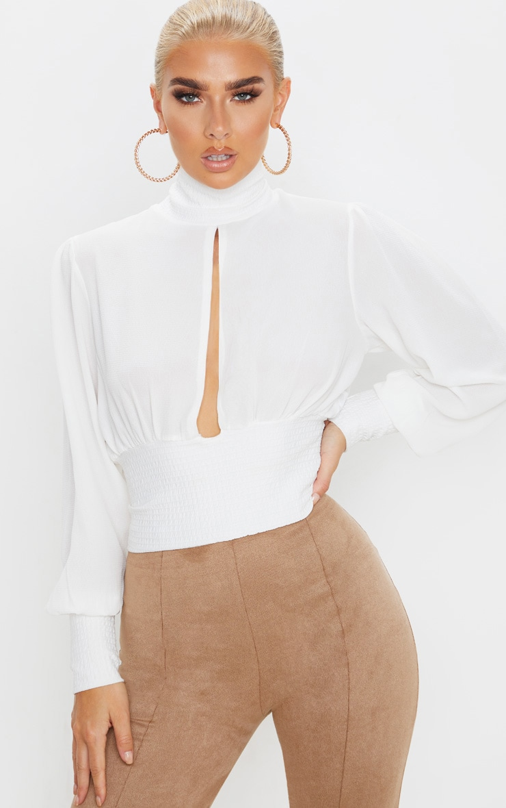 White Crepe Rib Waist and Cuff Blouse 1