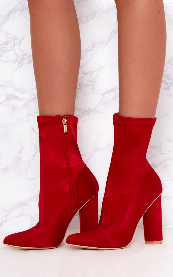 Red Stretch Satin Sock Ankle Boots 2