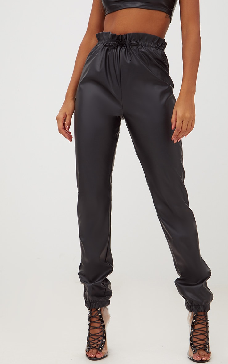 Black Faux Leather Paperbag Joggers 2
