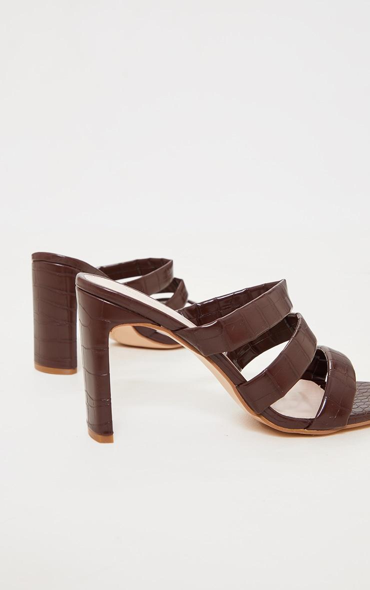 Chocolate PU Croc Triple Strap Flat Heeled Mules 4