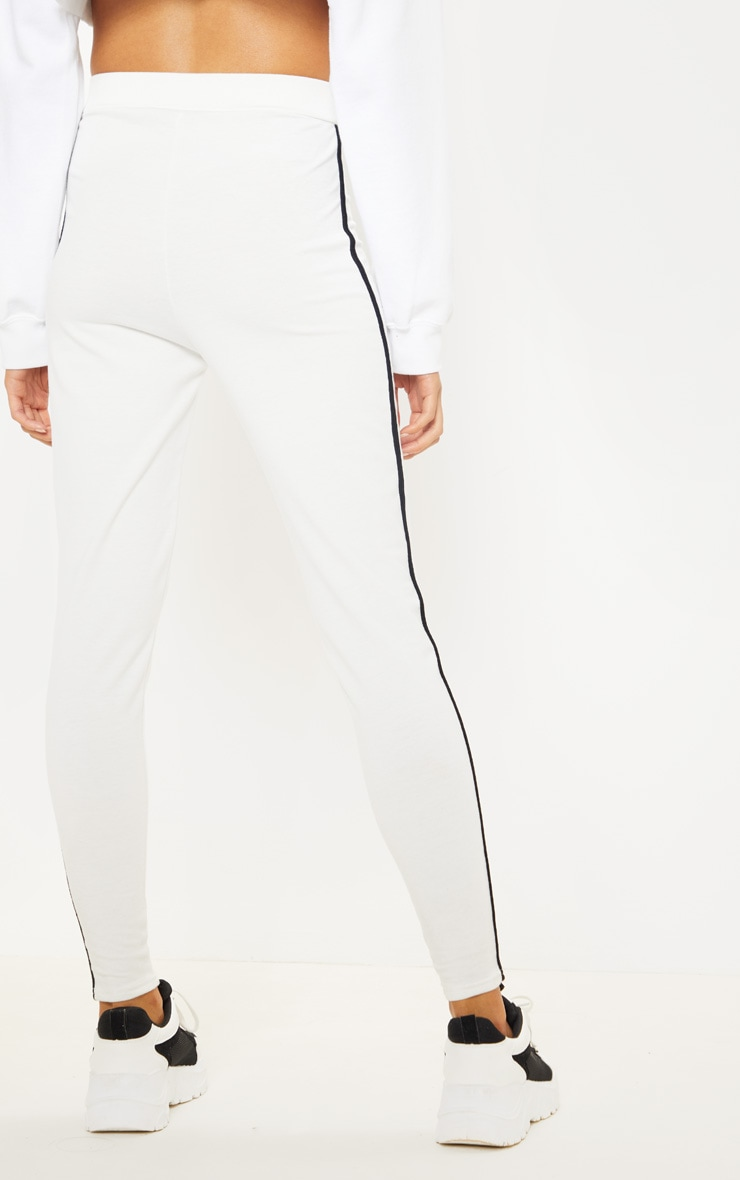 Cream Contrast Binding Tie Waist Detail Legging 4