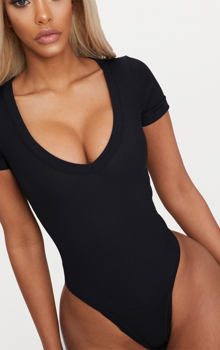 Shape Black Ribbed Plunge Short Sleeve Bodysuit 6