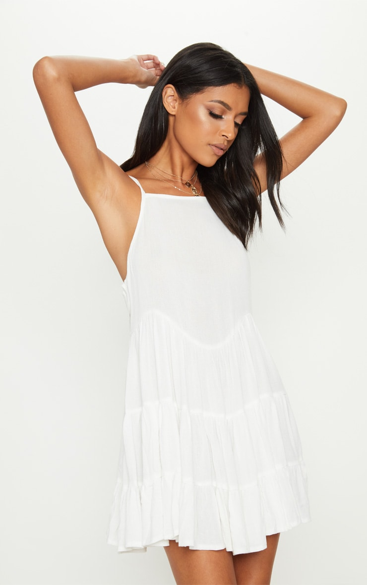 White Cheesecloth Strappy Tiered Cami Dress 1