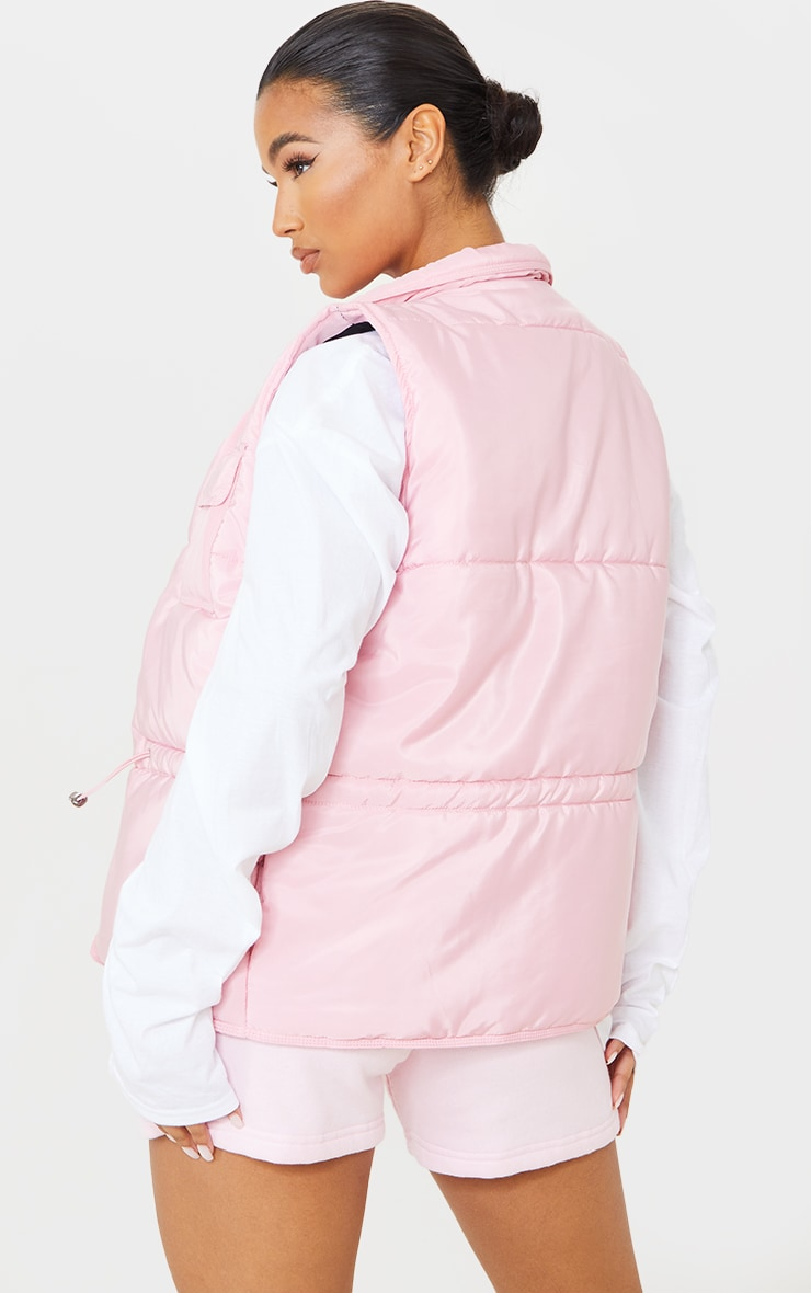 Baby Pink Panel Padded Toggle Waist Gilet 2