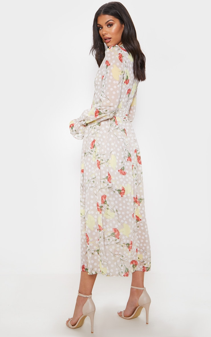 Cream Polka Dot Floral Chiffon Neck Tie Skater Midi Dress 2