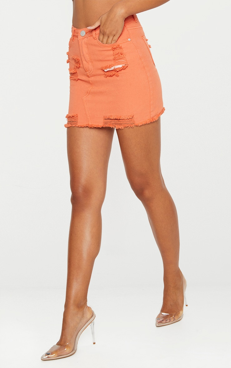 Orange Distressed Denim Mini Skirt 2