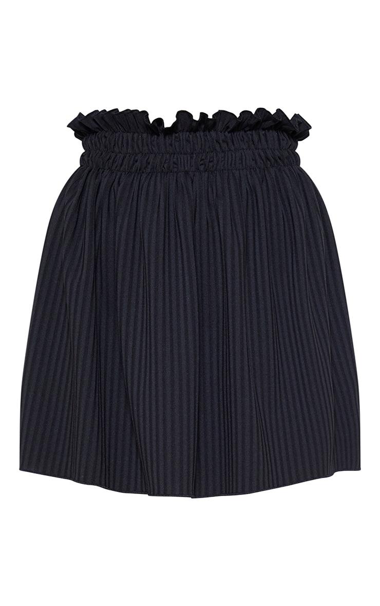 Black Ribbed Shirred Waist Band Skater Skirt 3