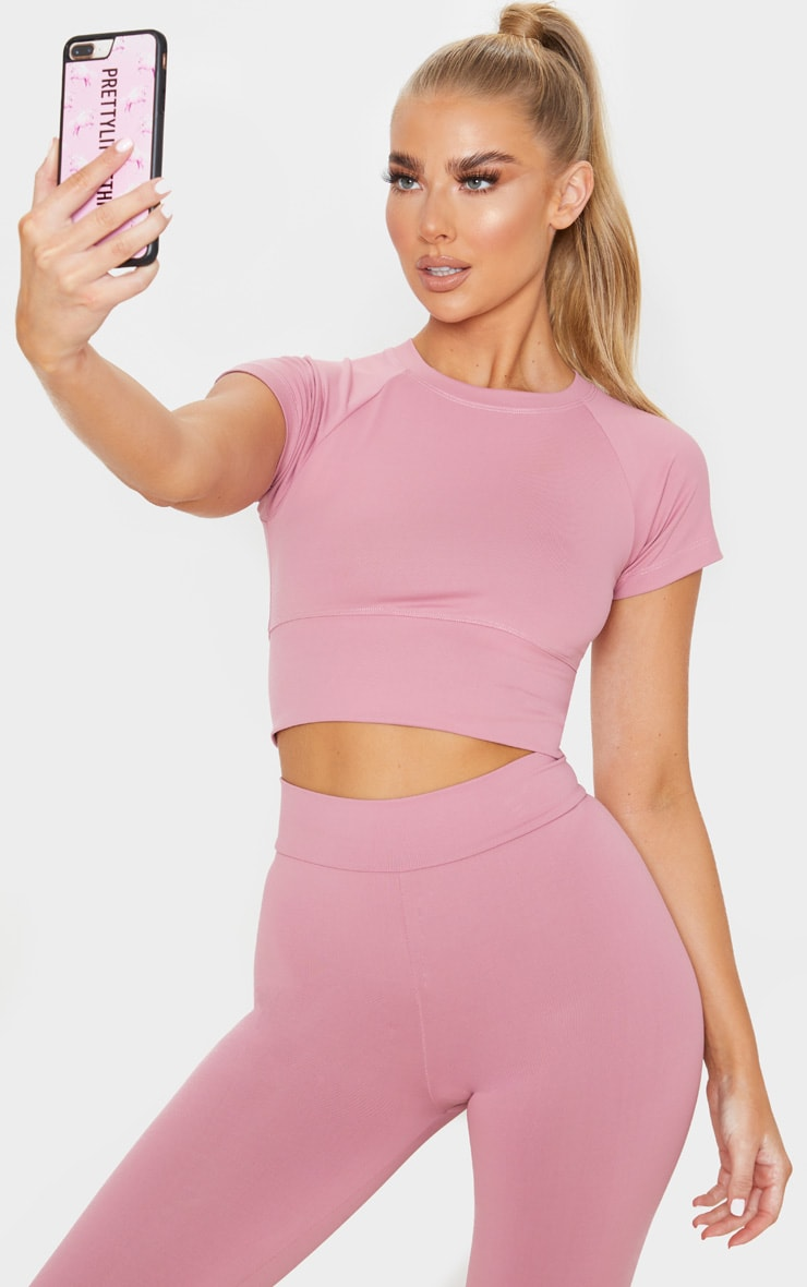 Dusty Pink Yoga Luxe Cropped Sports Tee 1