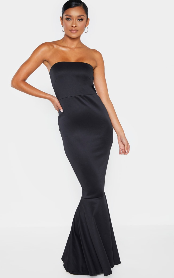 Black Scuba Bandeau Fishtail Maxi Dress 4