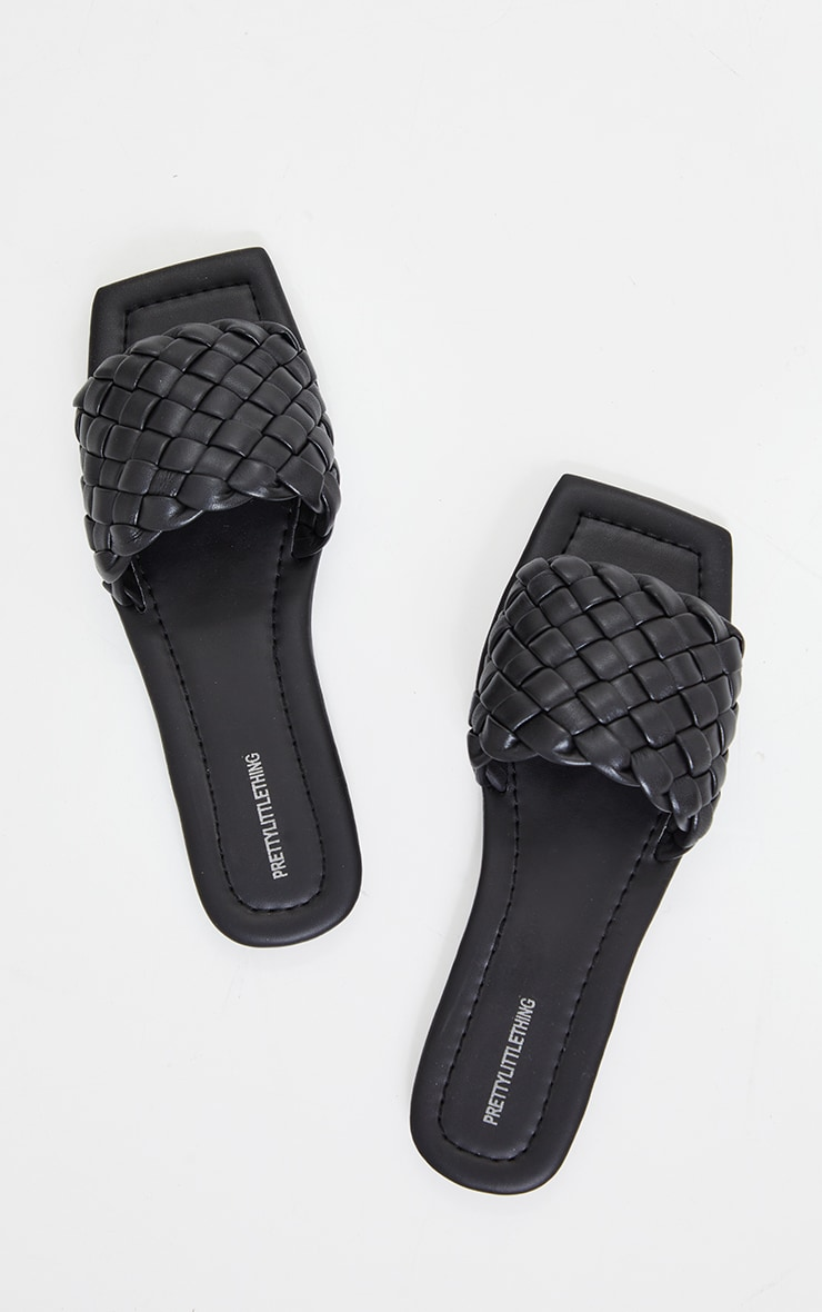 Black Real Leather Square Toe Chunky Basket Weave Mule Sandals 3