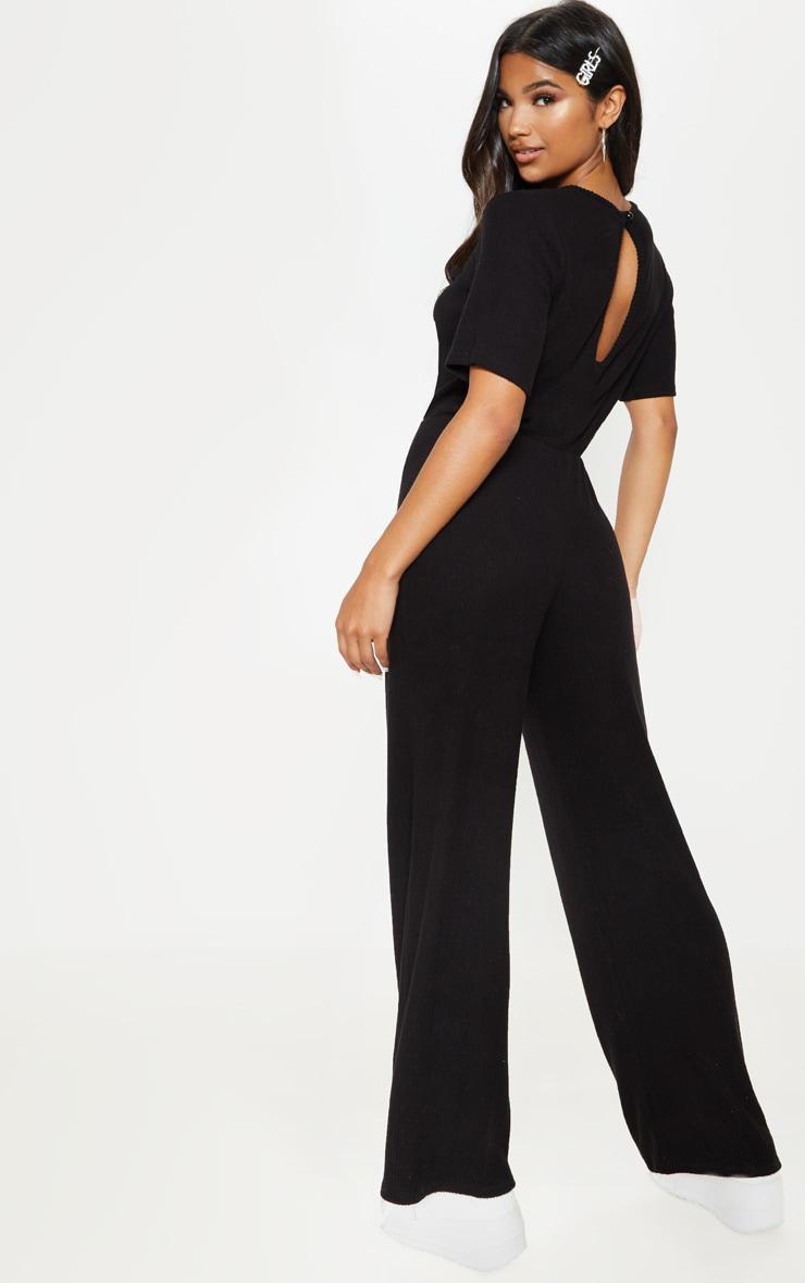 Black Soft Rib Short Sleeve Jumpsuit 2