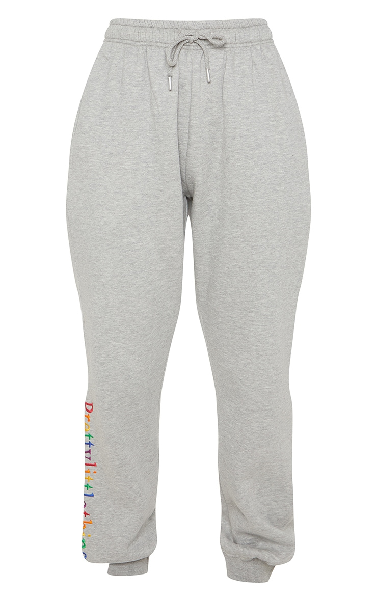 PRETTYLITTLETHING Grey Embroidered Track Pant 3