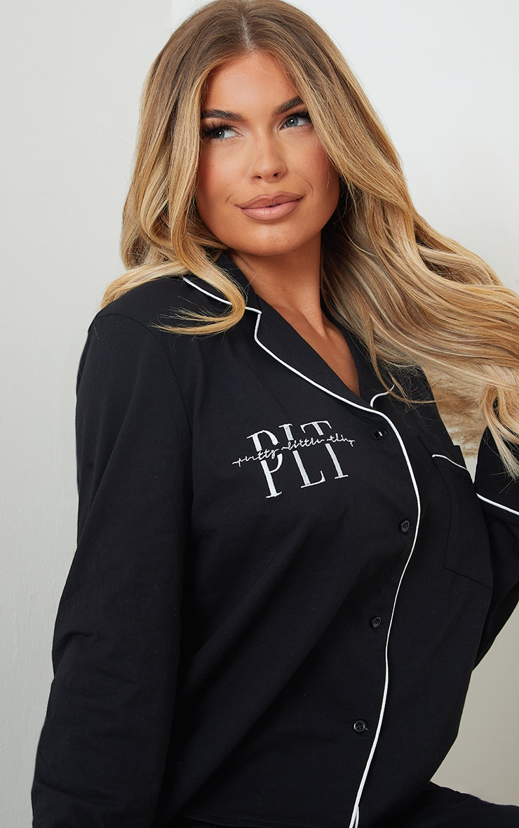 PRETTYLITTLETHING Black Jersey Button Down Long PJ Set 4
