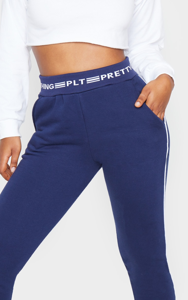 PRETTYLITTLETHING Navy Contrast Piping Cuff Joggers 5