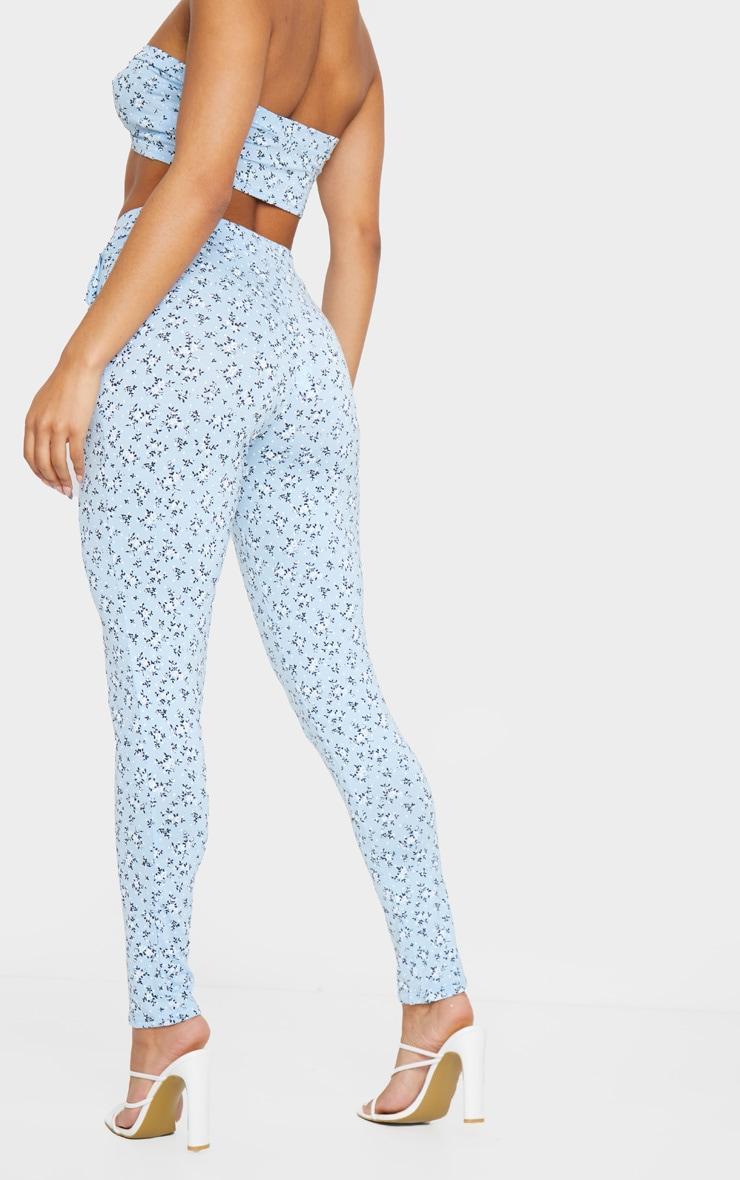 Blue Floral Printed Skinny Pants 3