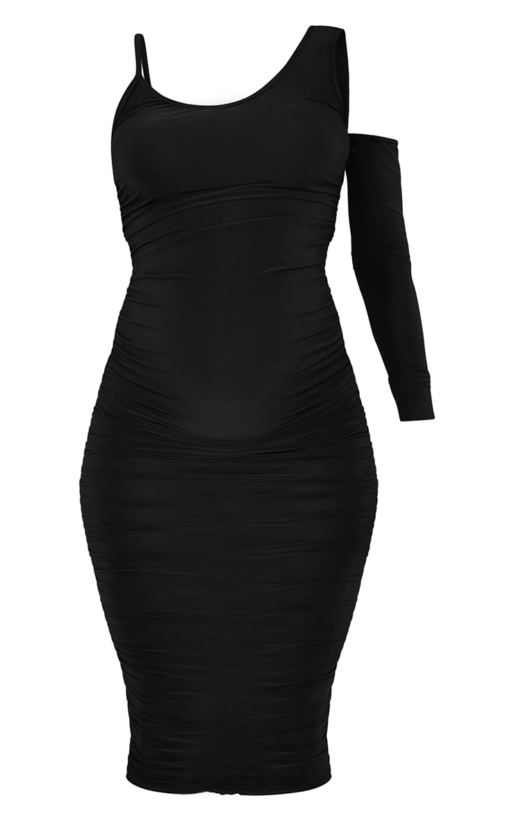 Maternity Black One Sleeve Midi Dress 5