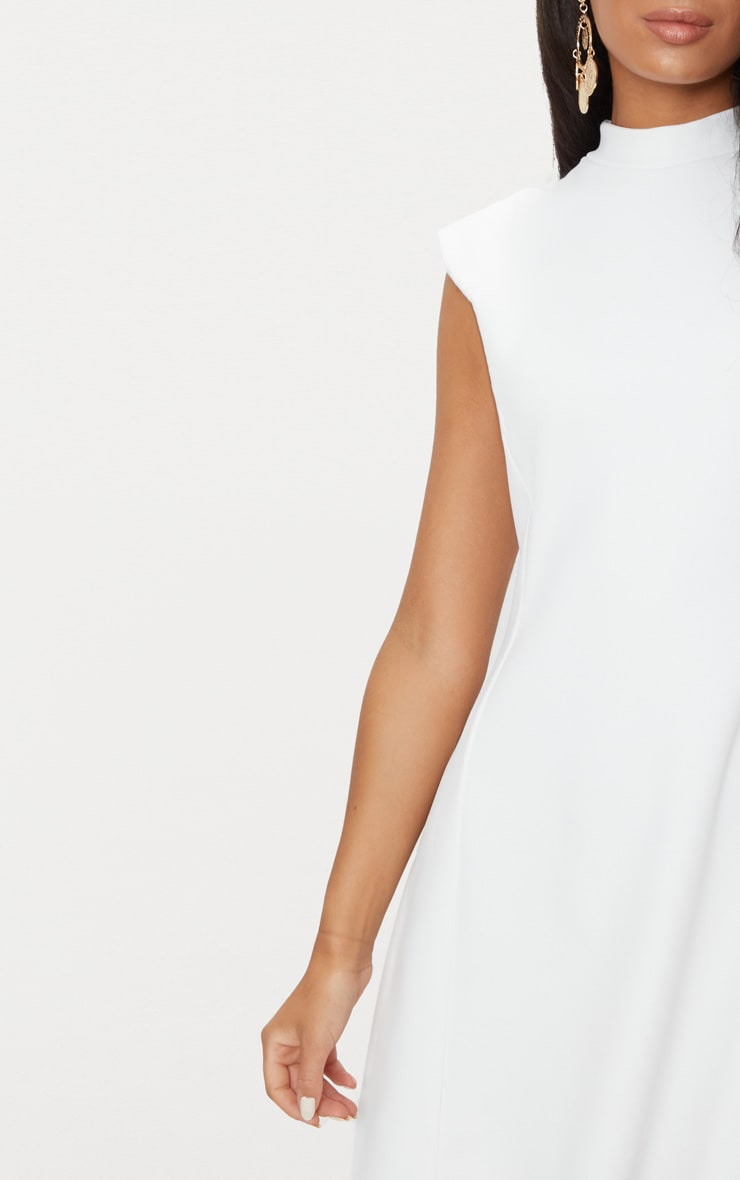 White High Neck Shoulder Pad Detail Skater Dress 4