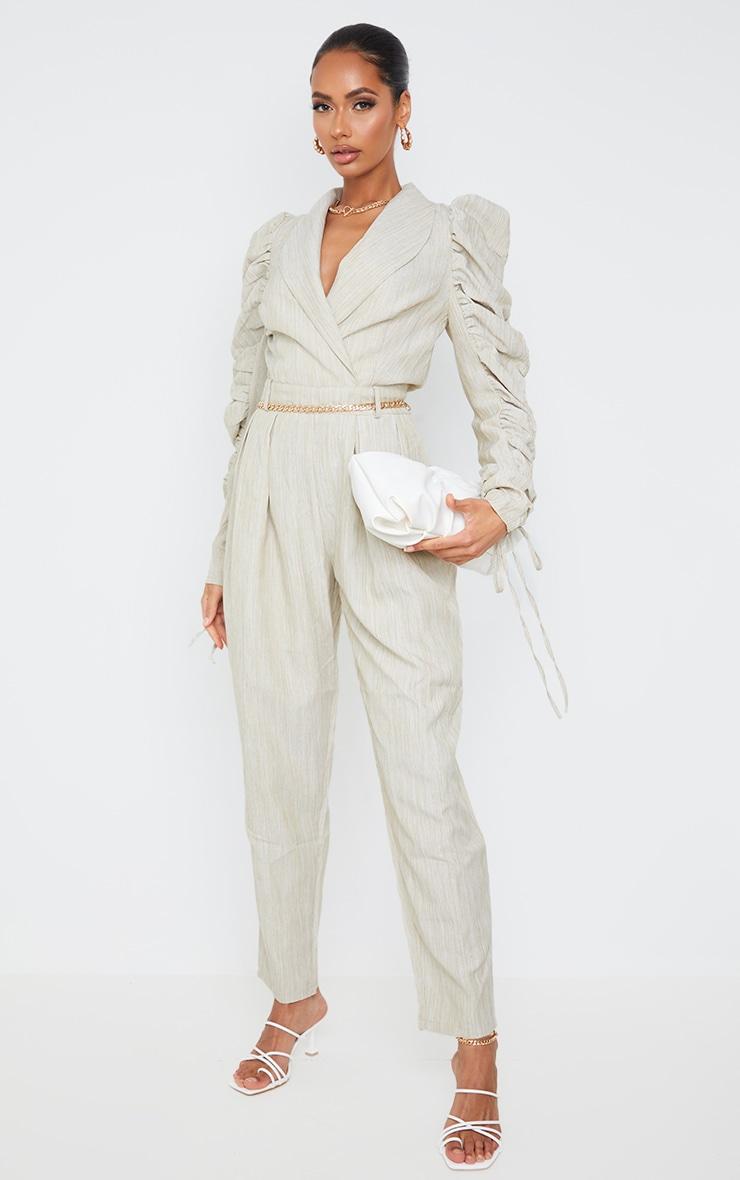 Beige Ruched Sleeve Blazer Jumpsuit image 3