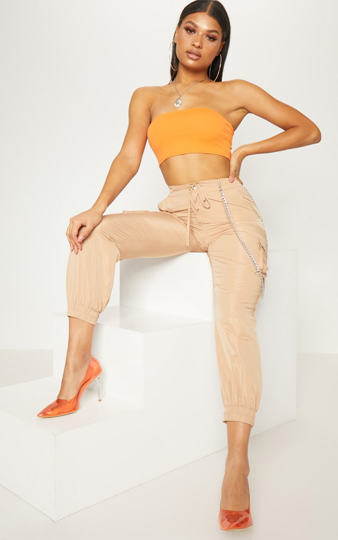 Orange Crepe Bandeau Crop Top 4